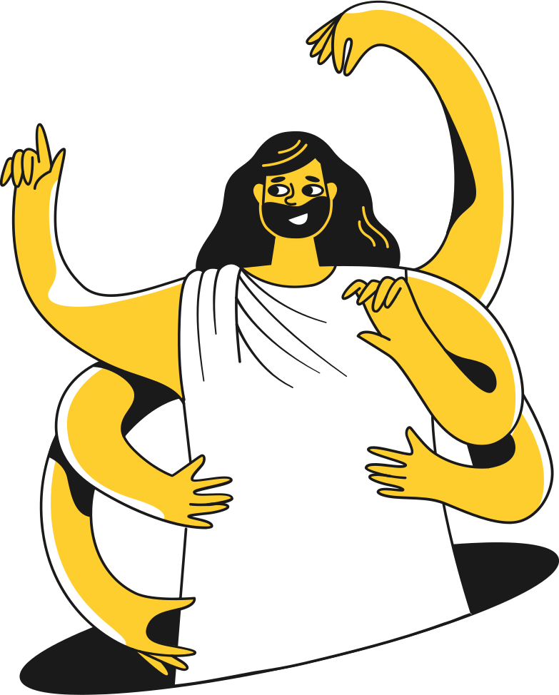 six arm god empty hands Clipart illustration in PNG, SVG