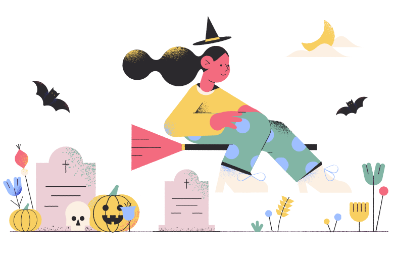 Witch at the graveyard Clipart illustration in PNG, SVG