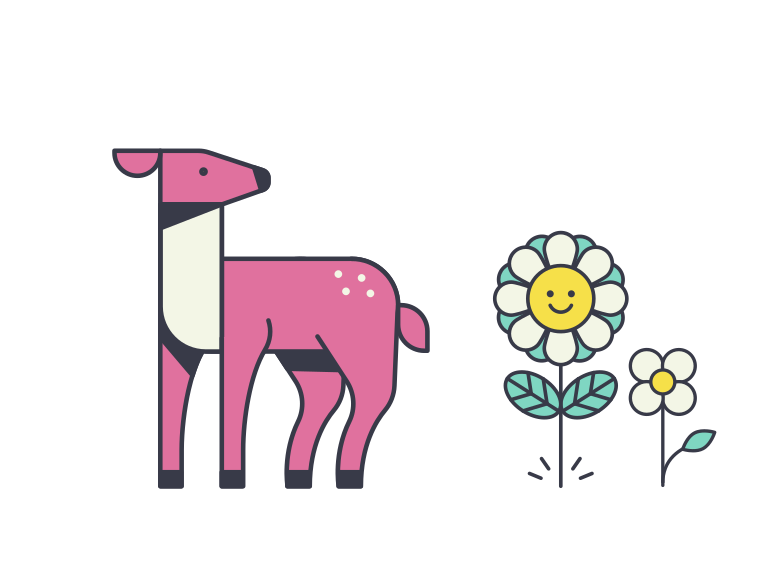 Deer and flowers Clipart illustration in PNG, SVG