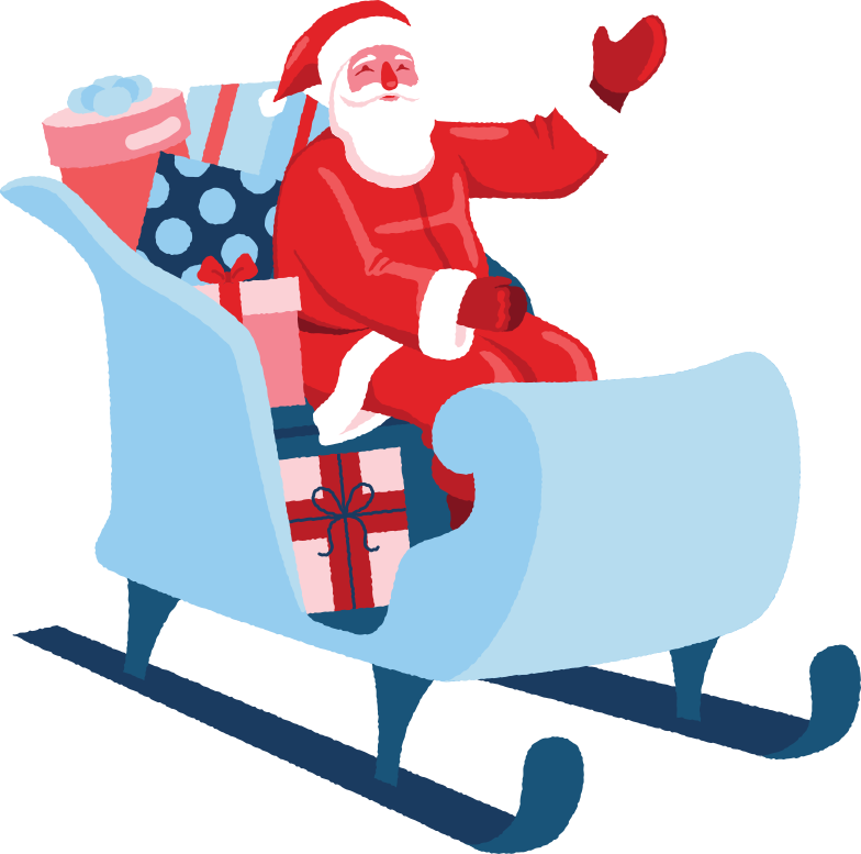 santa in sleigh Clipart illustration in PNG, SVG
