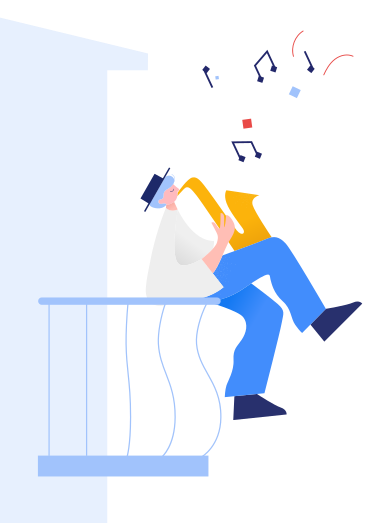 style Man plays the saxophone on the balcony images in PNG and SVG | Icons8 Illustrations
