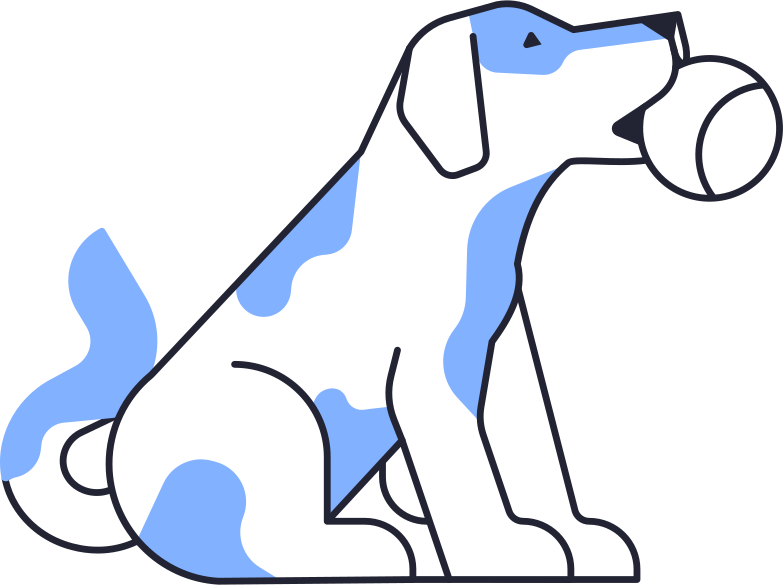 dog with ball Clipart illustration in PNG, SVG