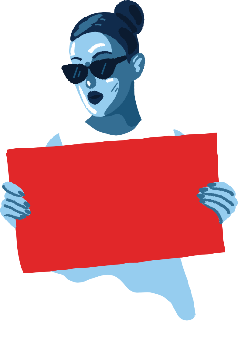 woman with a poster Clipart illustration in PNG, SVG