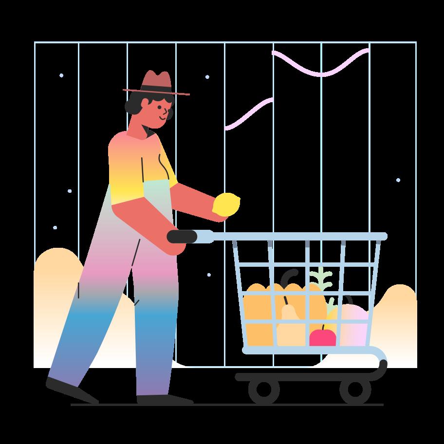 Vegetarian shopping Clipart illustration in PNG, SVG