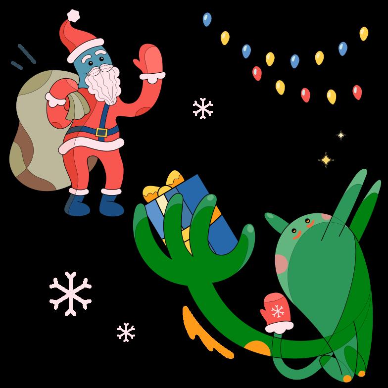 Santa delivering presents Clipart illustration in PNG, SVG