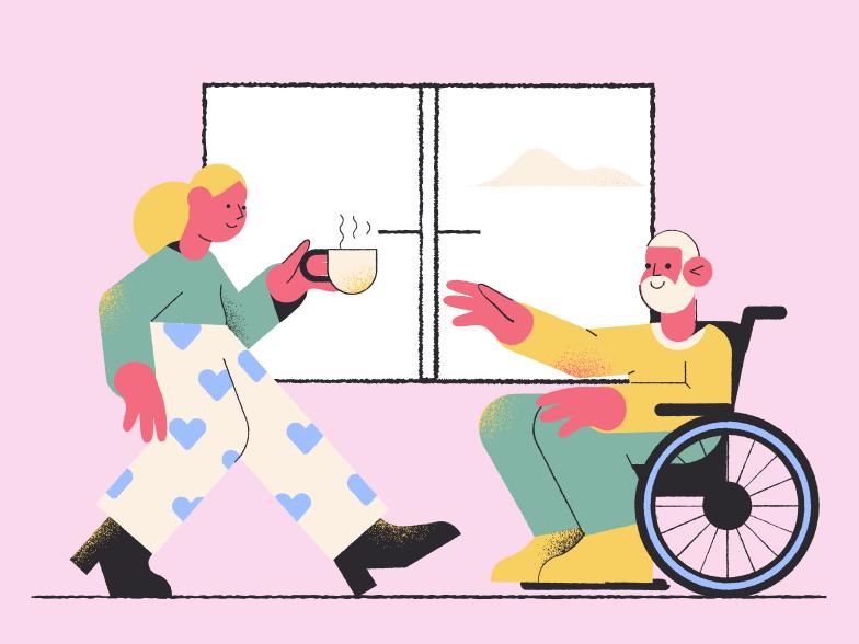 Elderly care Clipart illustration in PNG, SVG