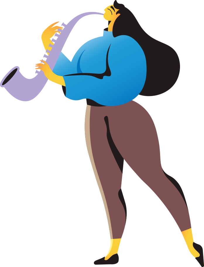 woman with saxophone Clipart illustration in PNG, SVG