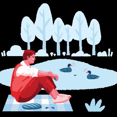 Иллюстрация Кормление уток в стиле  в PNG и SVG | Icons8 Иллюстрации
