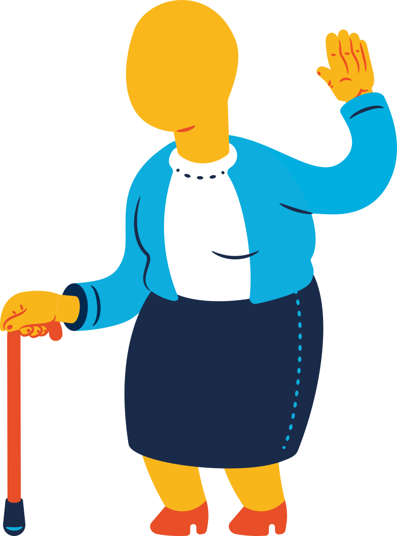 chubby old woman greeting Clipart illustration in PNG, SVG