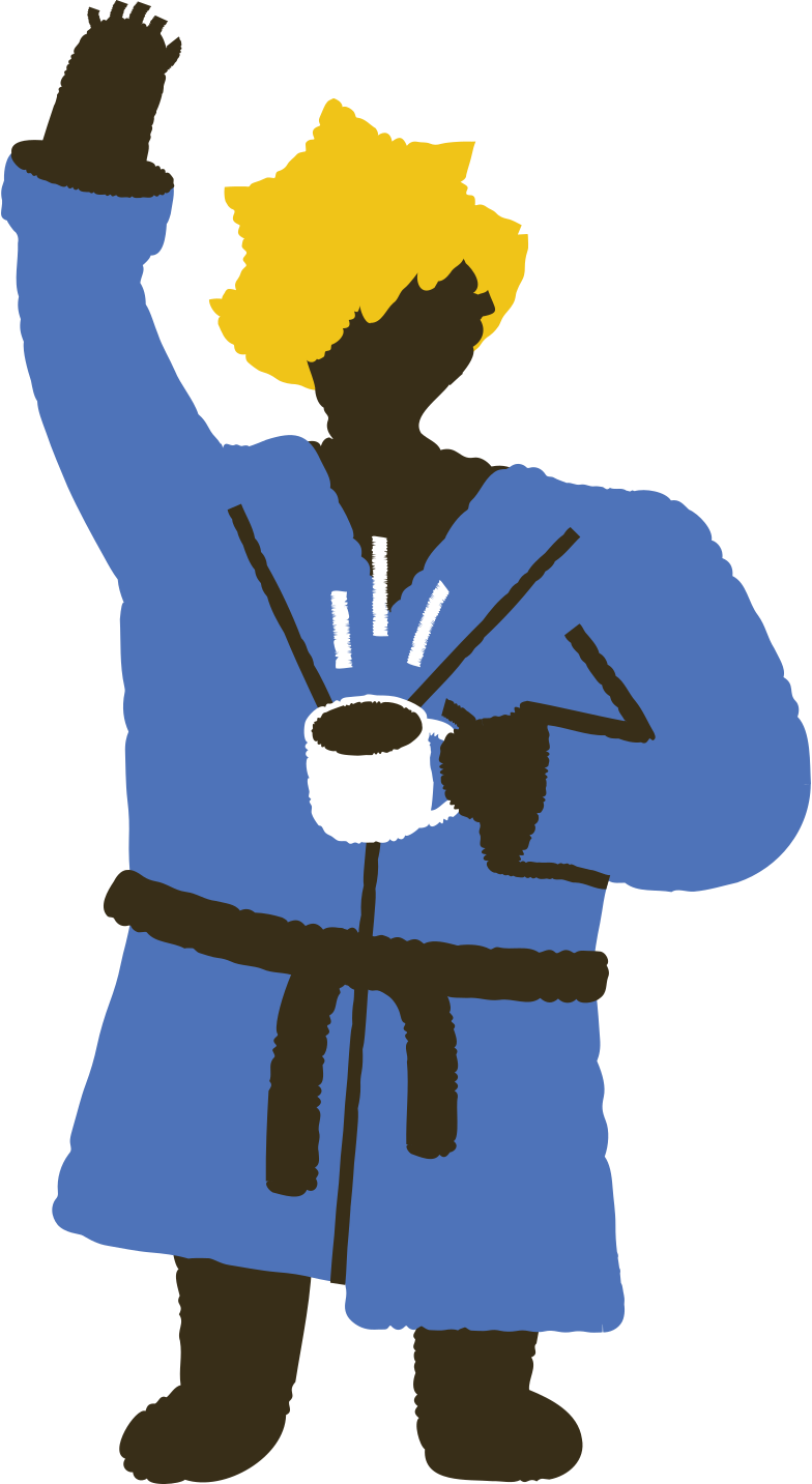 waking up man with cup of coffee Clipart illustration in PNG, SVG