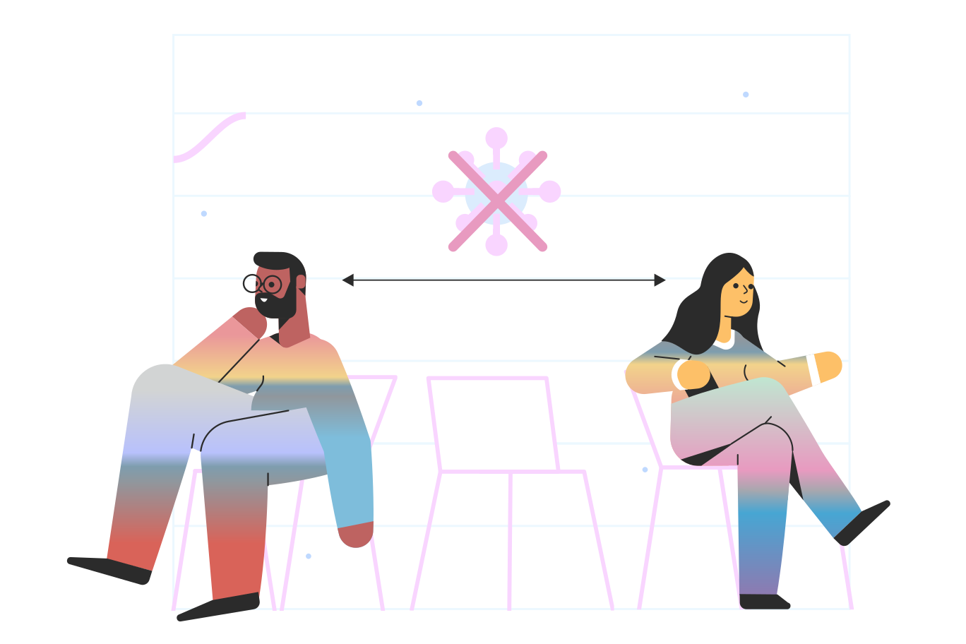 Social distance Clipart illustration in PNG, SVG