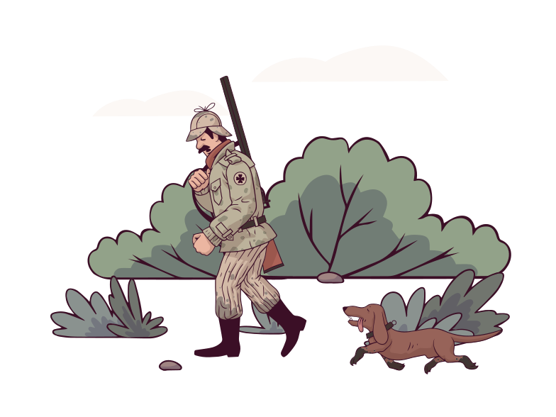 Hunter in the forest Clipart illustration in PNG, SVG
