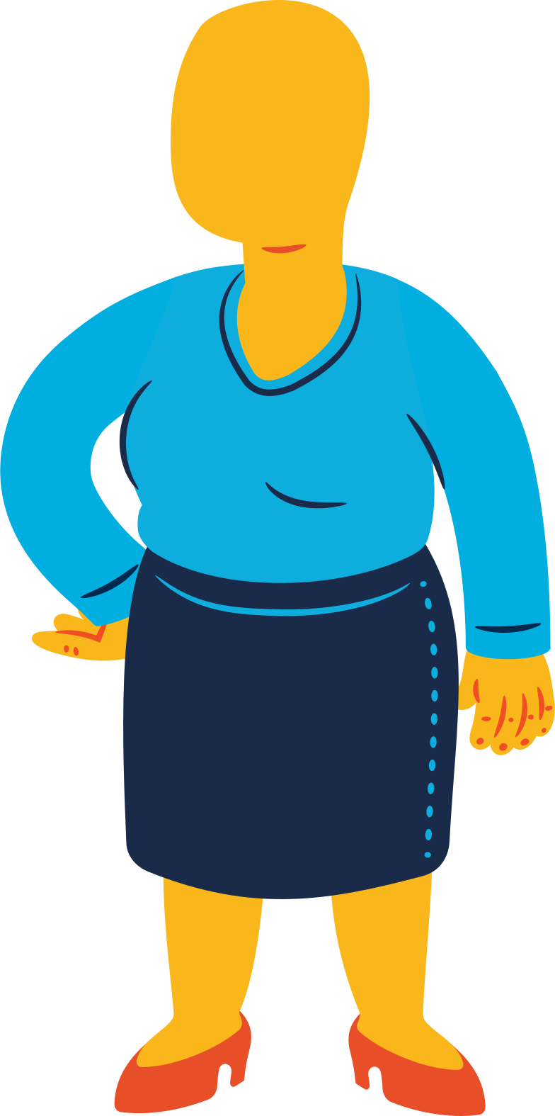 chubby woman standing Clipart illustration in PNG, SVG