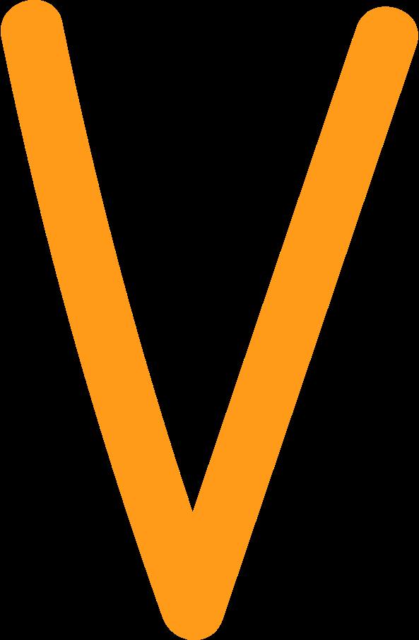 Ilustración de clipart de V amarillo en PNG, SVG