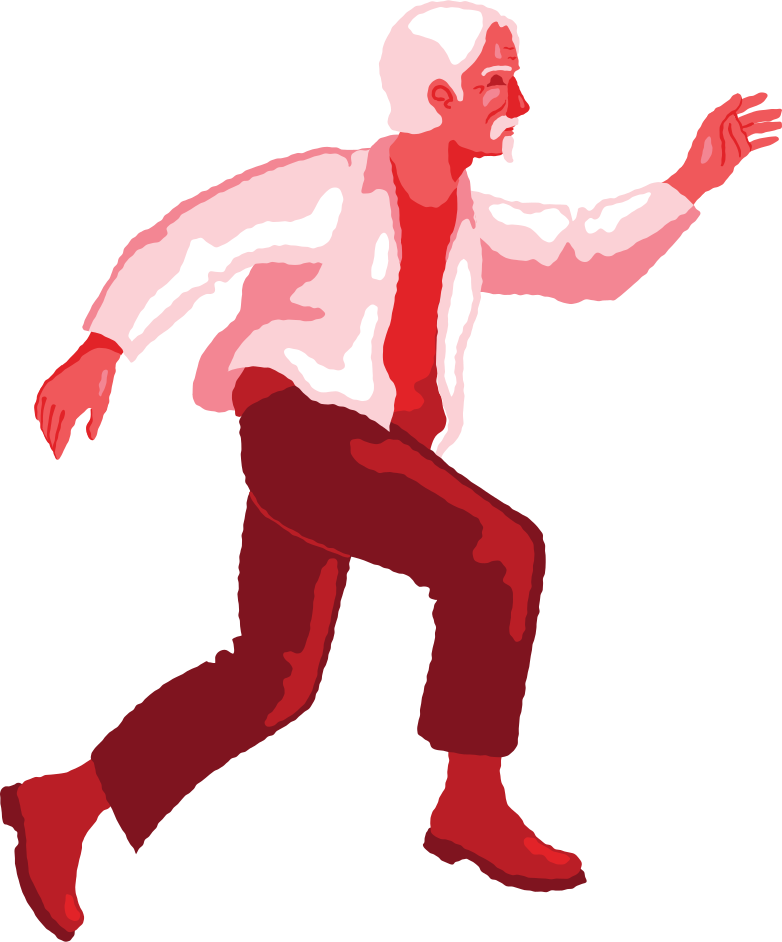 old man jumping profile Clipart illustration in PNG, SVG