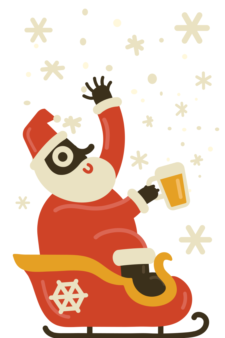 Drunk Santa likes to catch some snowflakes Clipart illustration in PNG, SVG