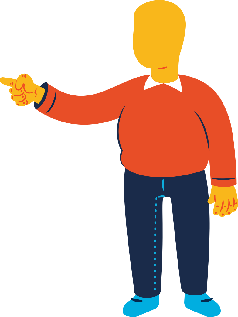 chubby man pointing Clipart illustration in PNG, SVG