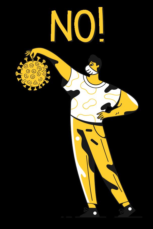 No, virus, NO! Clipart illustration in PNG, SVG