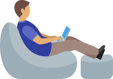 style man working with laptop sitting in armchair images in PNG and SVG | Icons8 Illustrations
