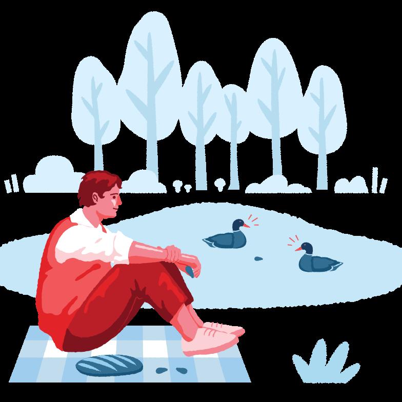 Feeding ducks Clipart illustration in PNG, SVG