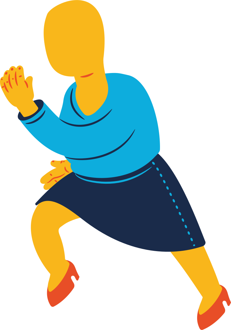chubby woman running Clipart illustration in PNG, SVG