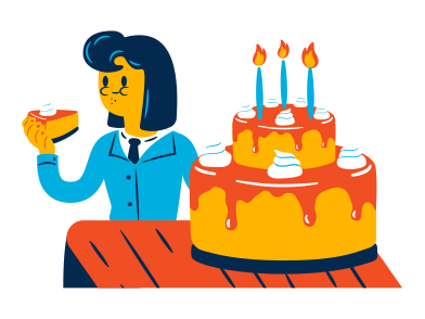 style Woman eats a birthday cake images in PNG and SVG | Icons8 Illustrations