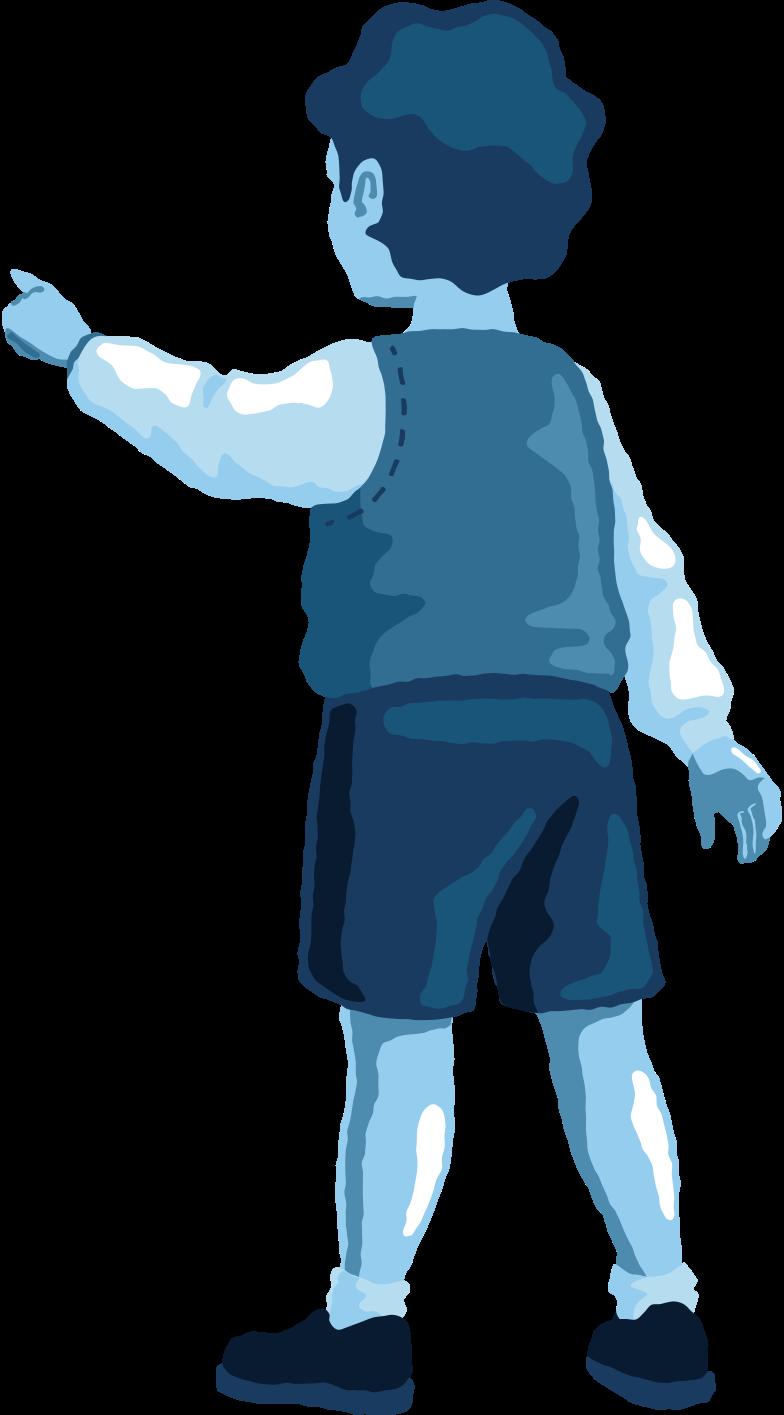 boy pointing back Clipart illustration in PNG, SVG