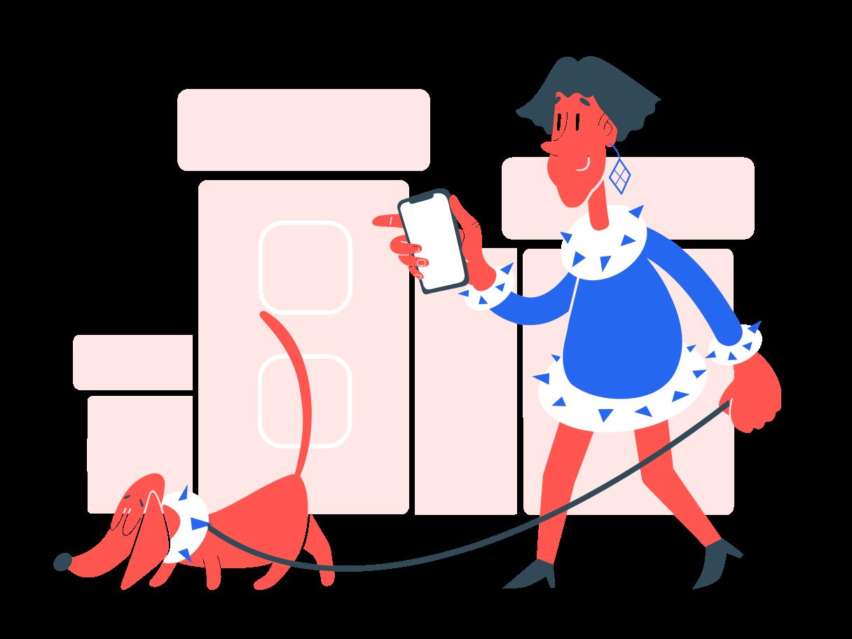 Mit hund spazieren gehen Clipart-Grafik als PNG, SVG