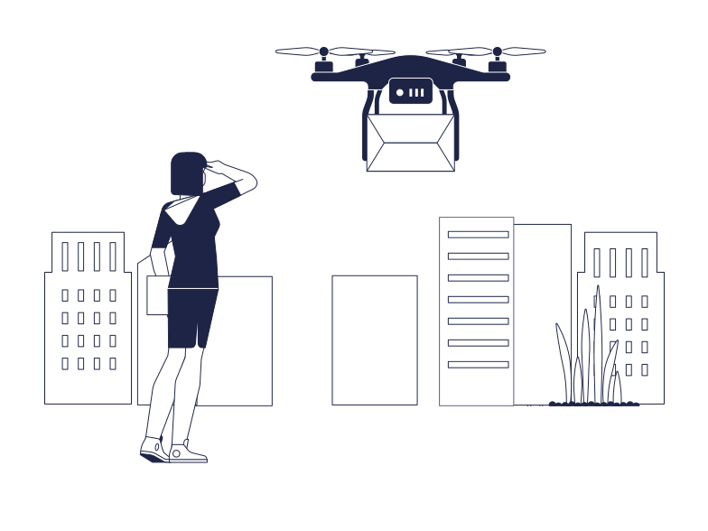 Drone Delivery Clipart illustration in PNG, SVG