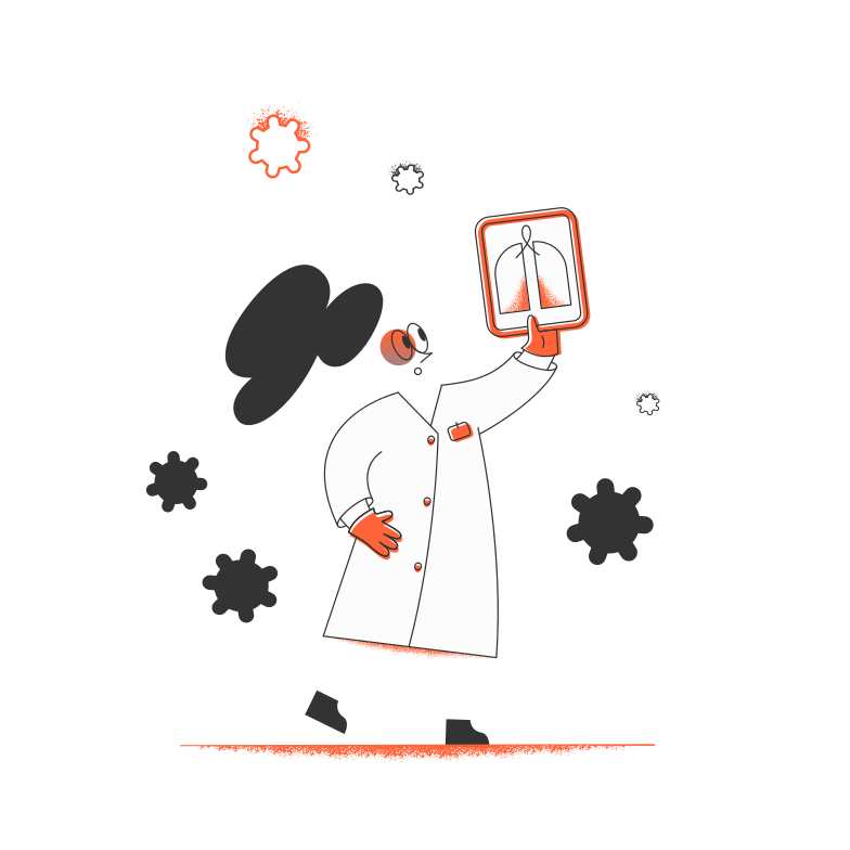 Doctor and viruses Clipart illustration in PNG, SVG
