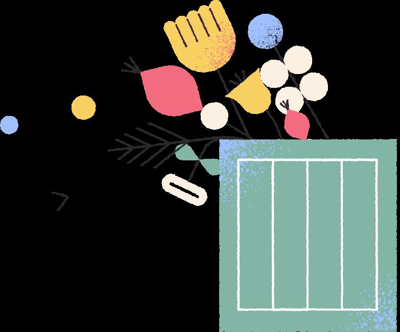 Ilustración de clipart de Flores en caja en PNG, SVG