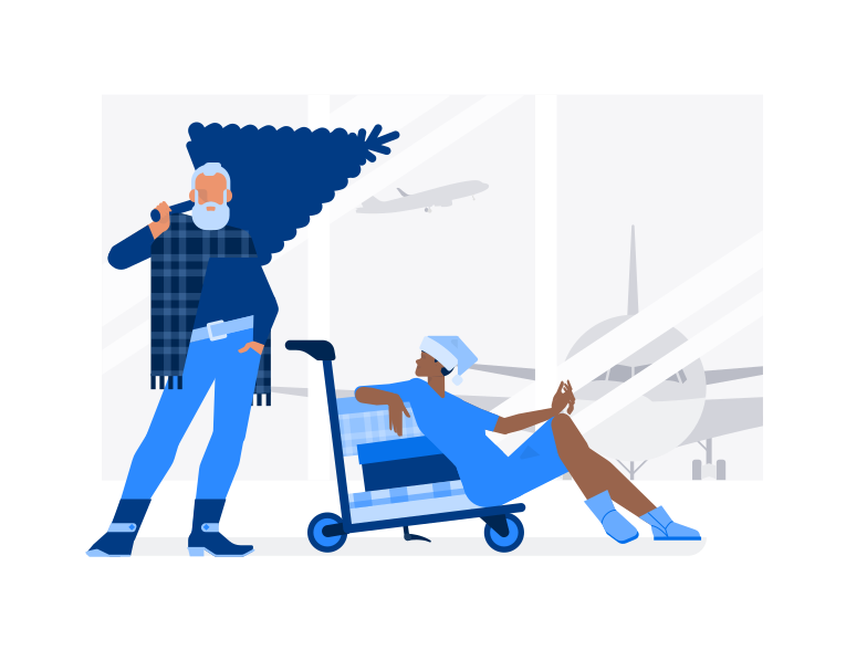 Santa in airport Clipart illustration in PNG, SVG