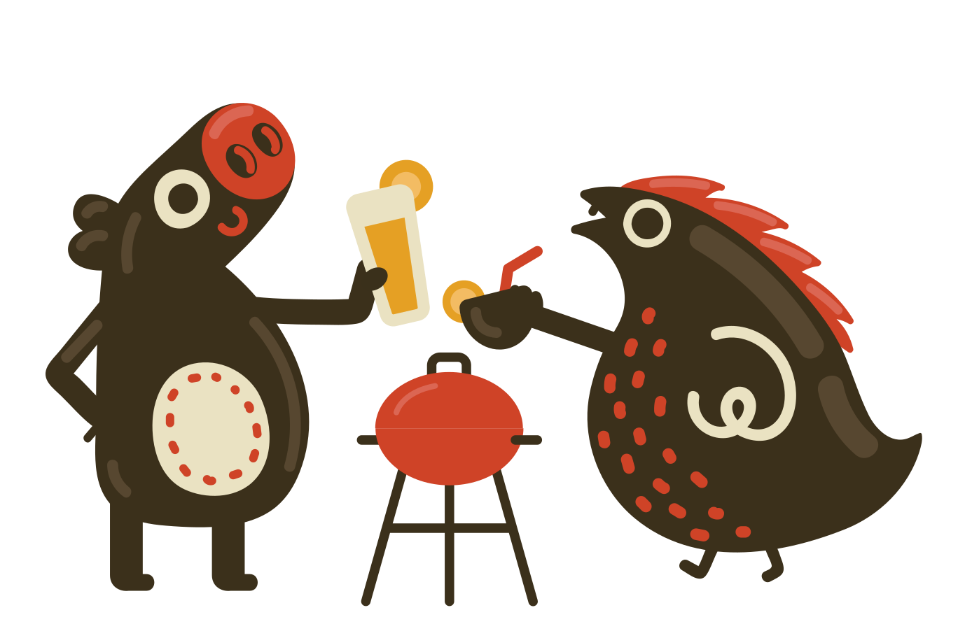 BBQ with friend Clipart illustration in PNG, SVG