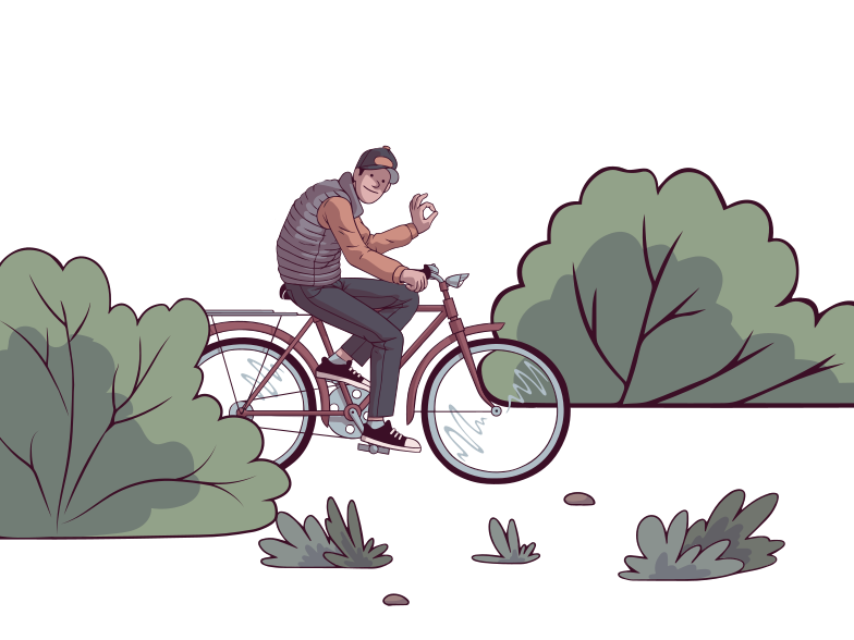 style Walk on the bike Vector images in PNG and SVG | Icons8 Illustrations