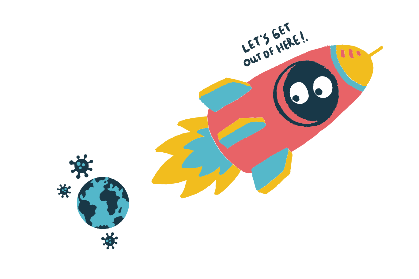Let's get out of here! Clipart illustration in PNG, SVG