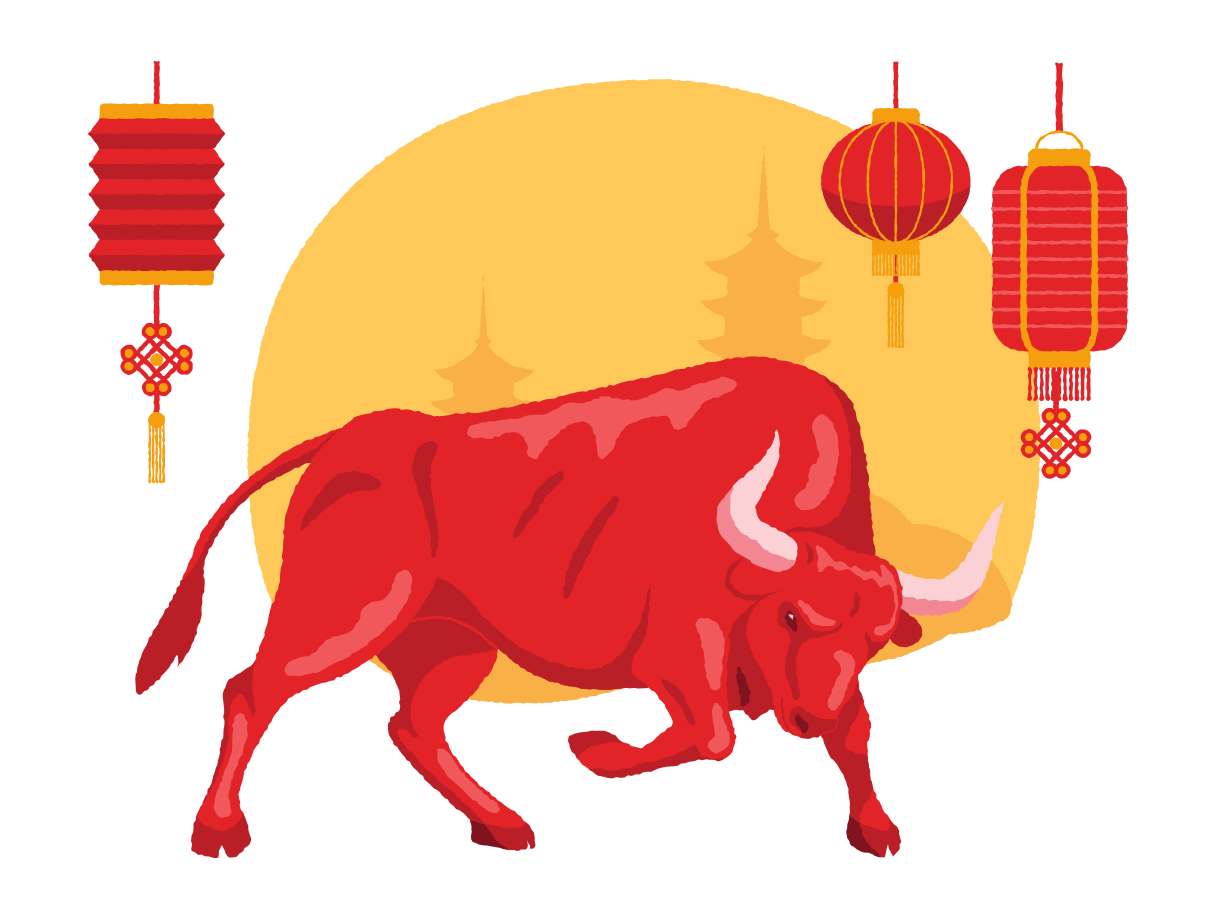Chinese Ox Year Clipart illustration in PNG, SVG