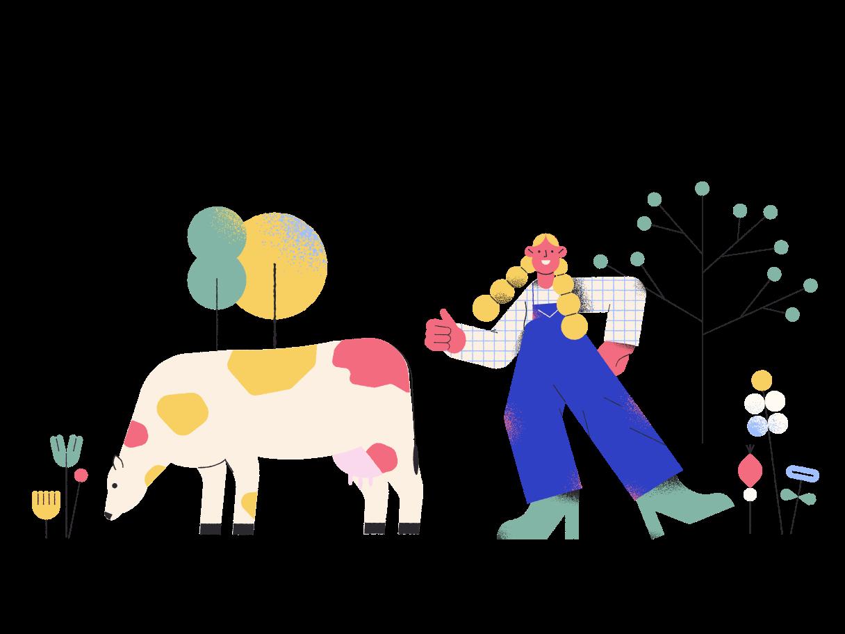 vaca e rapariga agricultor Clipart illustration in PNG, SVG