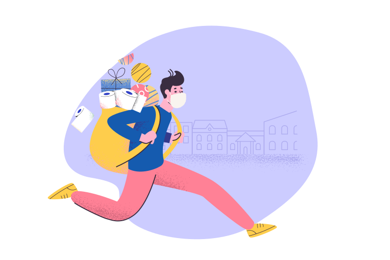Bringing home essential goods from the store Clipart illustration in PNG, SVG