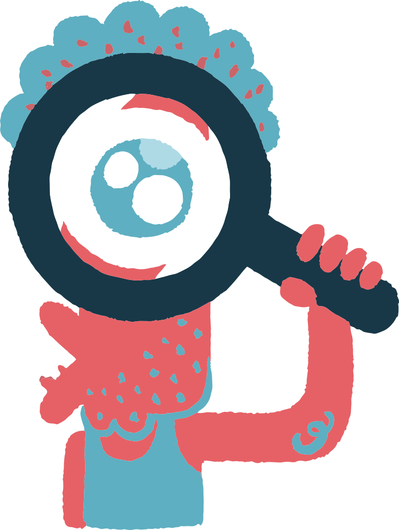 looking through magnifying glass Clipart illustration in PNG, SVG