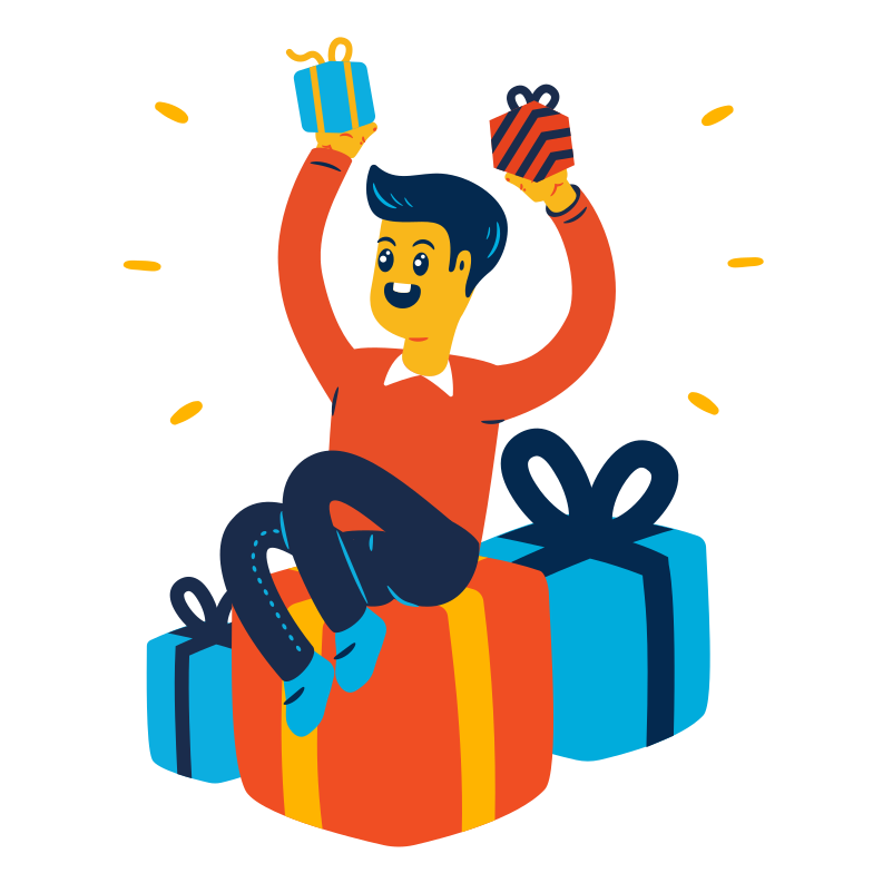 Man received a lot of gifts Clipart illustration in PNG, SVG