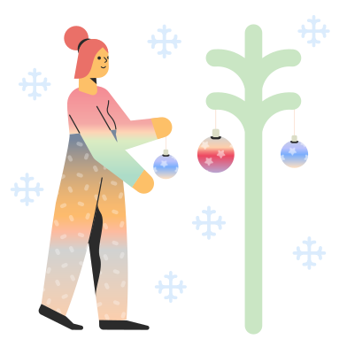 style Woman decorates Christmas tree images in PNG and SVG | Icons8 Illustrations