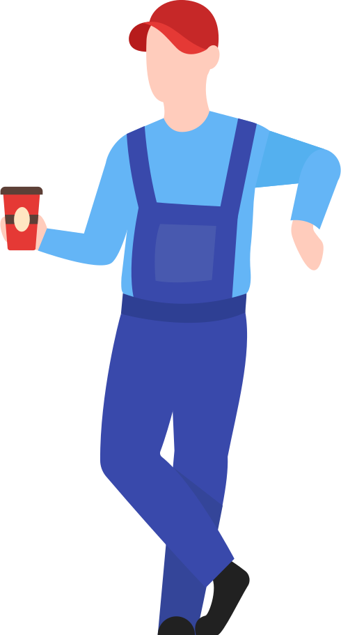 man with man warehouse worker with coffee Clipart illustration in PNG, SVG