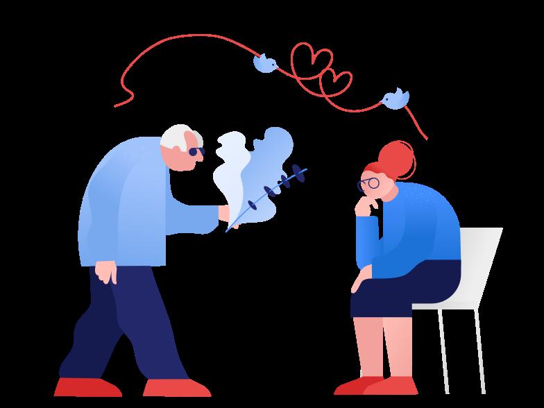 Elderly love Clipart illustration in PNG, SVG