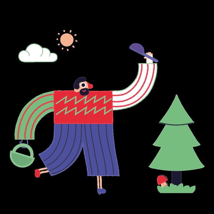 Mushroom picker Clipart illustration in PNG, SVG