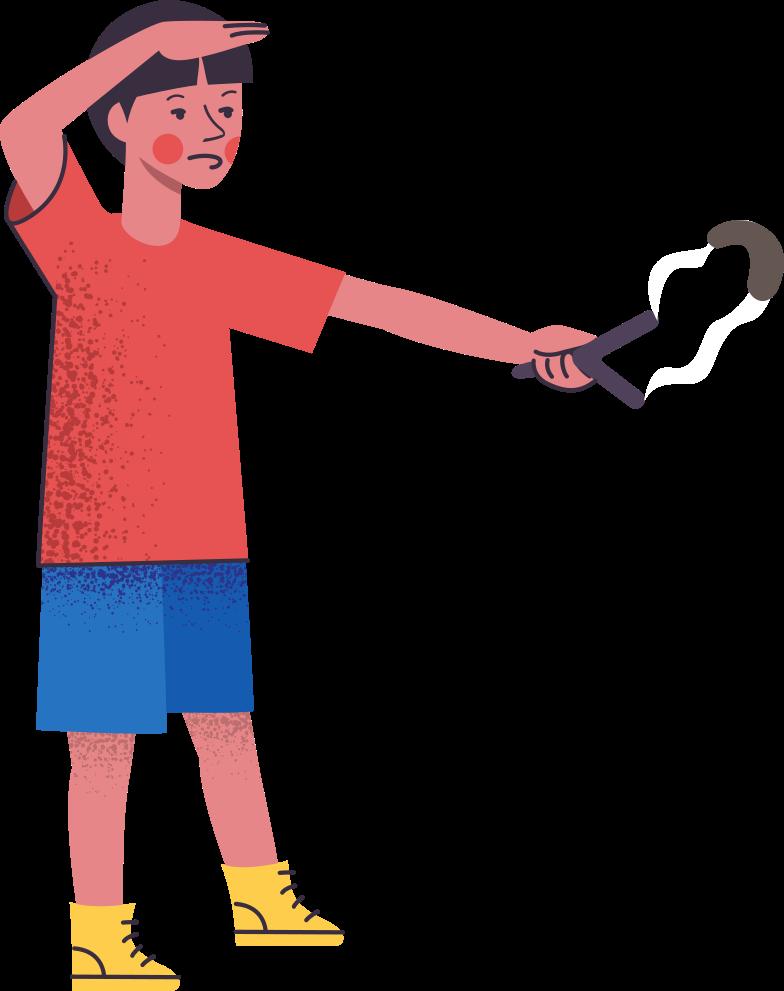 boy-with-slingshot Clipart illustration in PNG, SVG