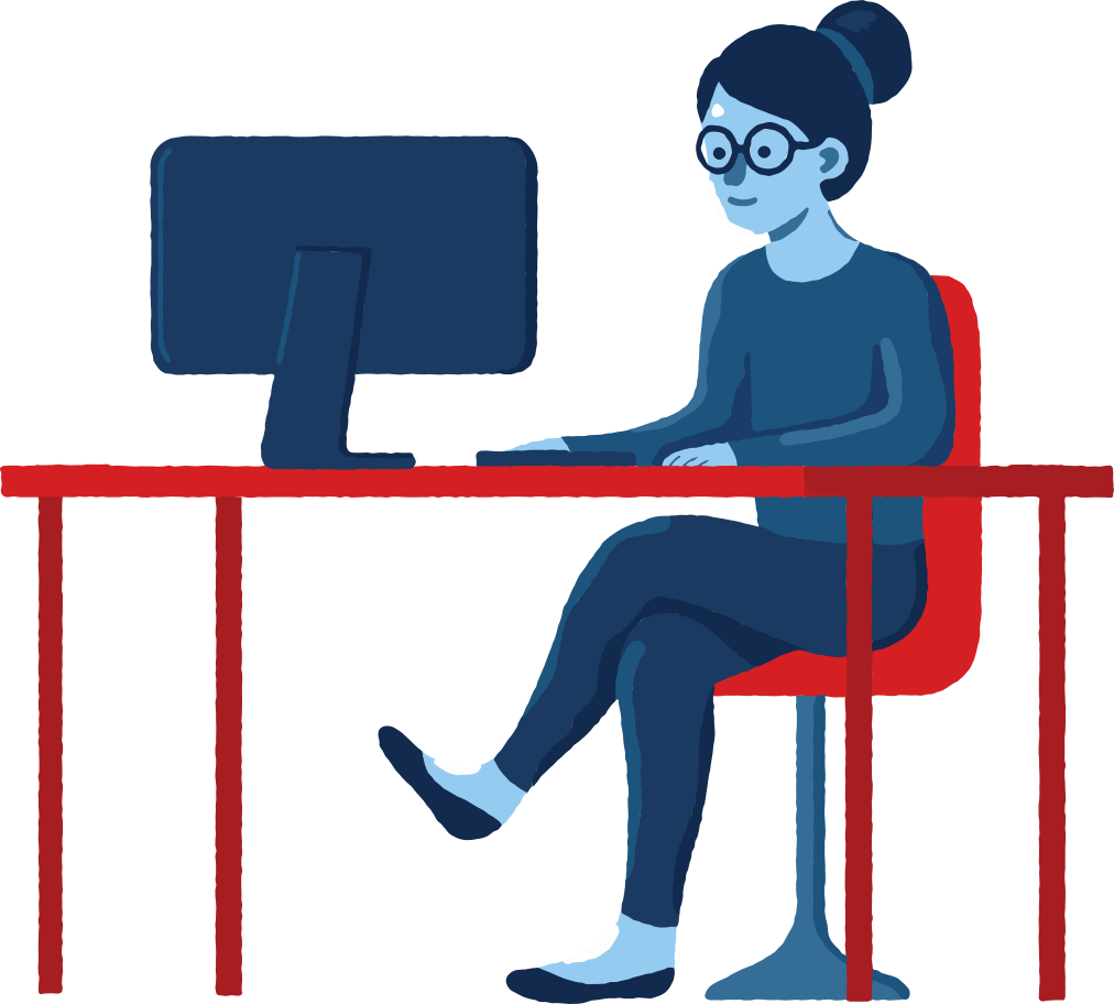 girl with pc Clipart illustration in PNG, SVG