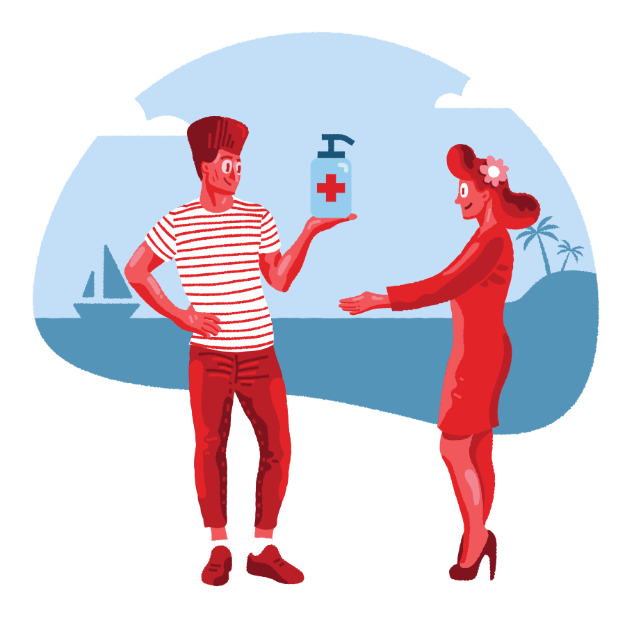 Romance on the beach during pandemic Clipart illustration in PNG, SVG