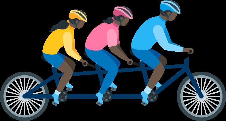 family on tandem bike Clipart illustration in PNG, SVG