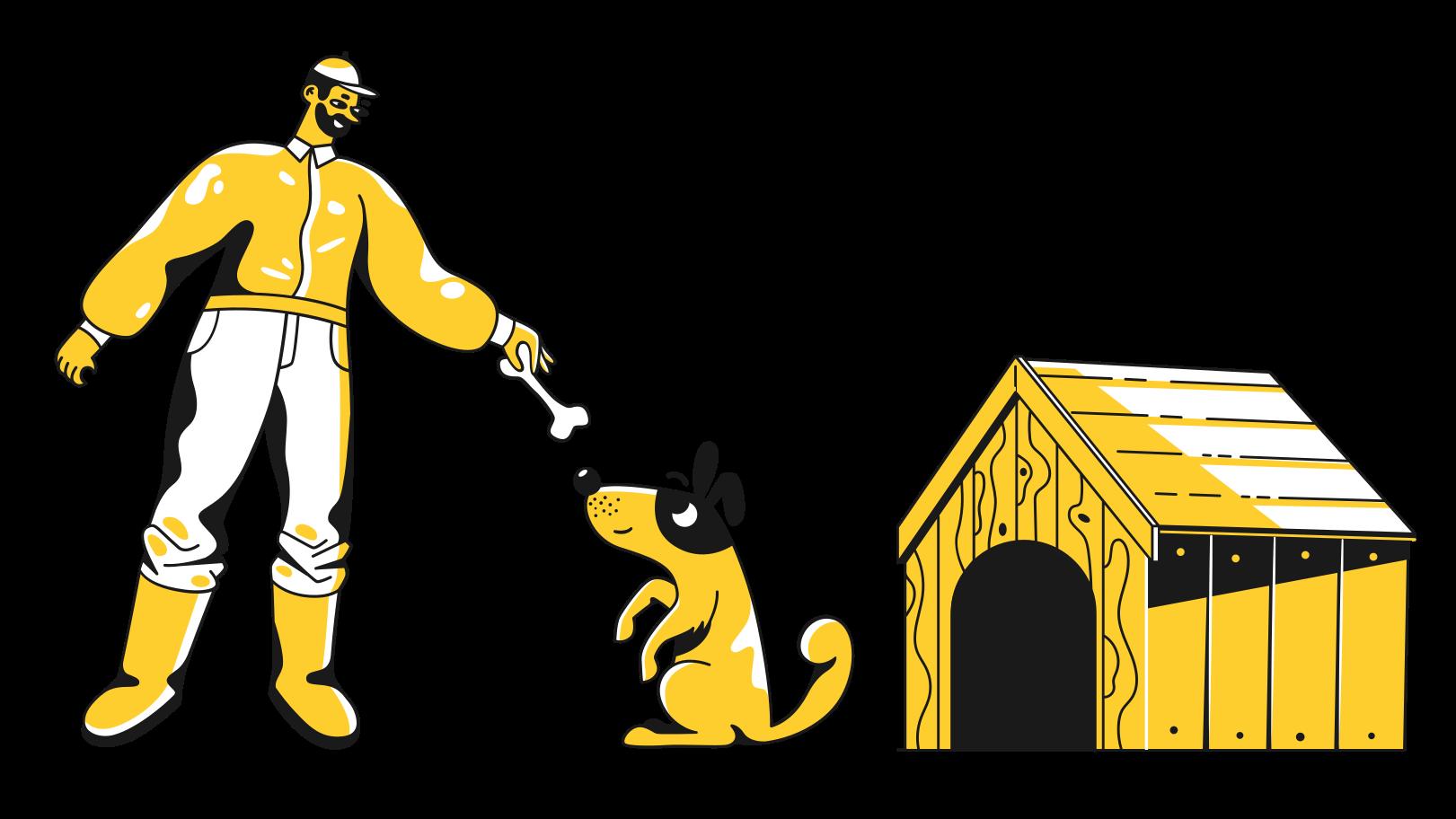 Illustration clipart l'homme nourrit un chien aux formats PNG, SVG