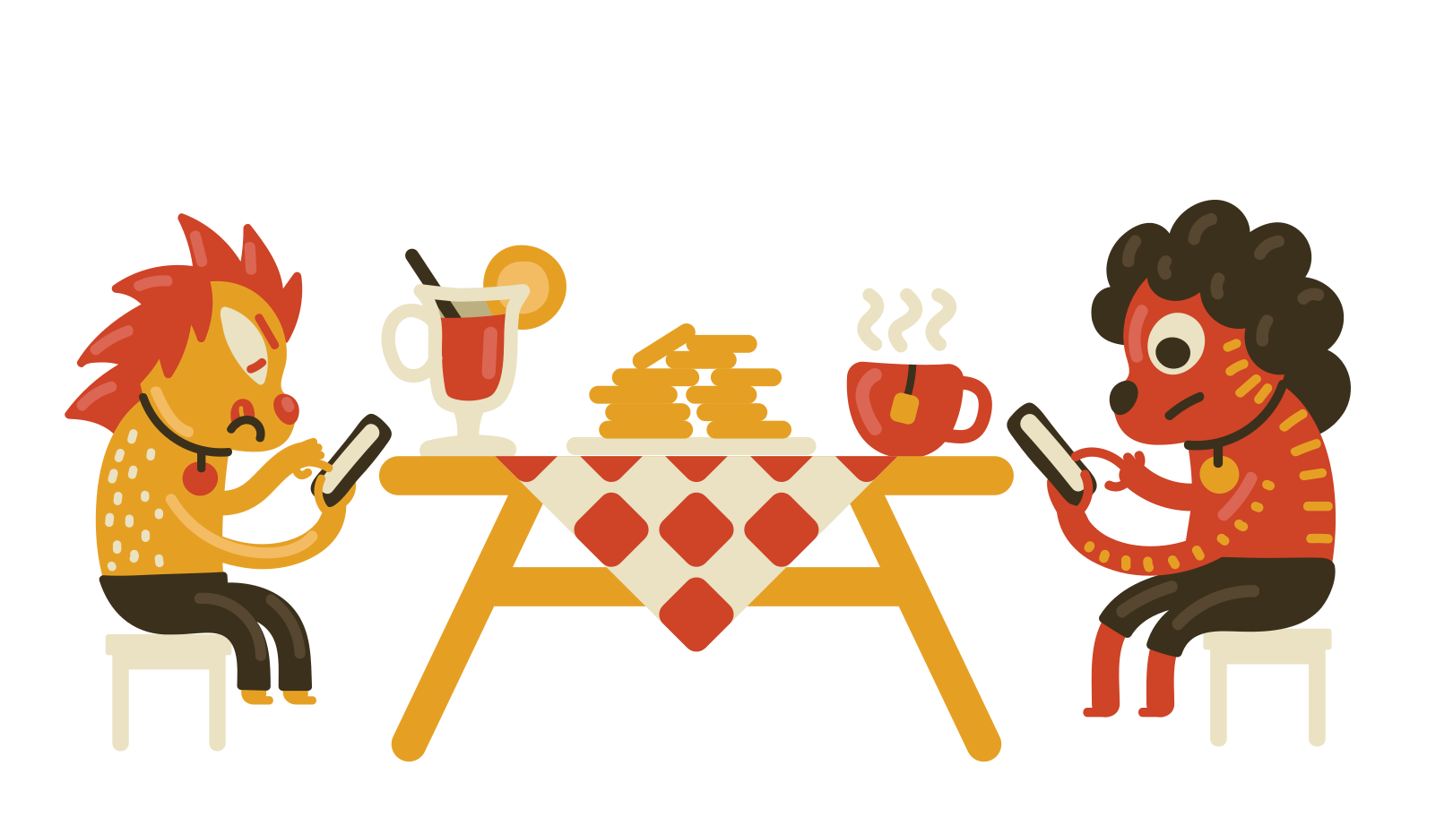 Luck of real communication behind the table Clipart illustration in PNG, SVG